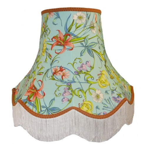 Carlotta Spring Floral Blue Fabric Lampshades