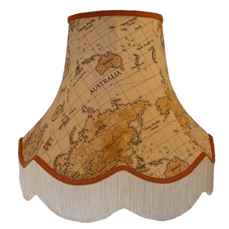 Burnt Orange Map Design Fabric Lampshades