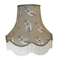 Grey Owl Design Fabric Lampshades