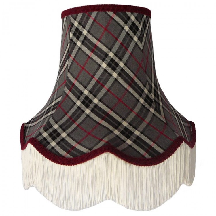 Grey and Red Tartan Fabric Lampshades