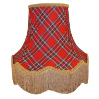 Red and Gold Tartan Fabric Lampshades