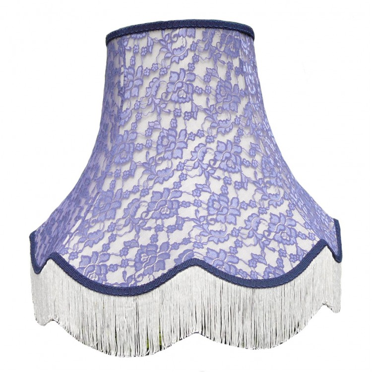 Cream and Blue Lace Fabric Lampshades