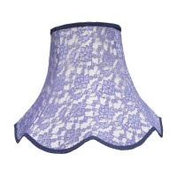 Cream and Blue Lace Modern Fabric Lampshades