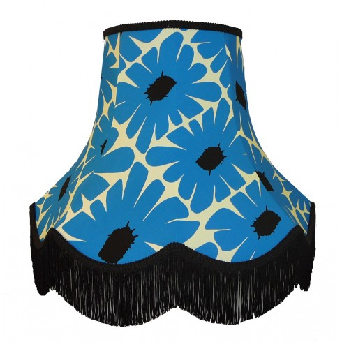 Blue Retro Floral Fabric Lampshades