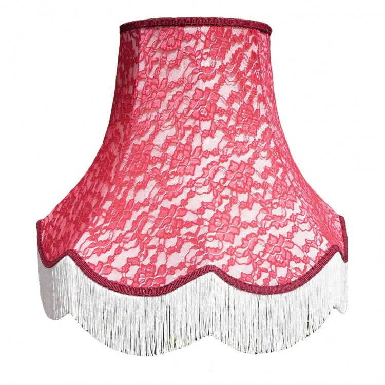Cream and Red Lace Fabric Lampshades