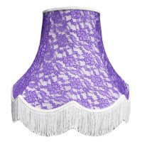 Cream and Purple Lace Fabric Lampshades