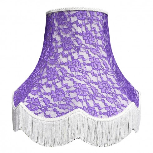 22 Inch Cream and Purple French Lace Fabric Lampshade