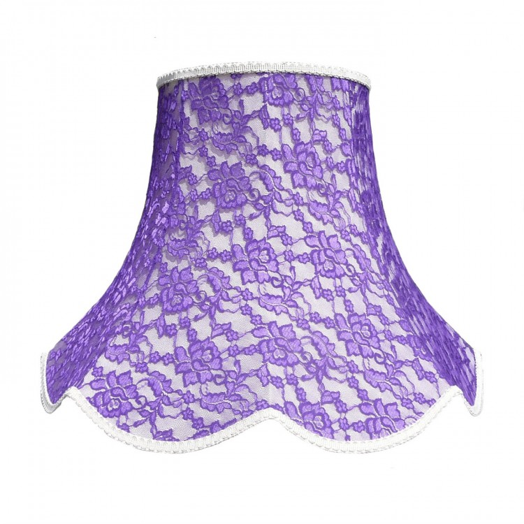 Cream and Purple Lace Modern Fabric Lampshades