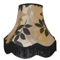 Gold and Black Leaf Fabric Lampshades