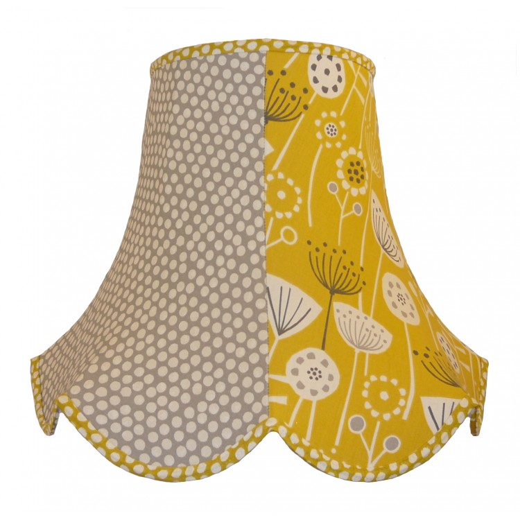 Grey Polka Dot Ochre Floral Fabric Lampshades