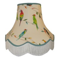 Parrots and Toucan Duck Egg Blue Fabric Lampshades