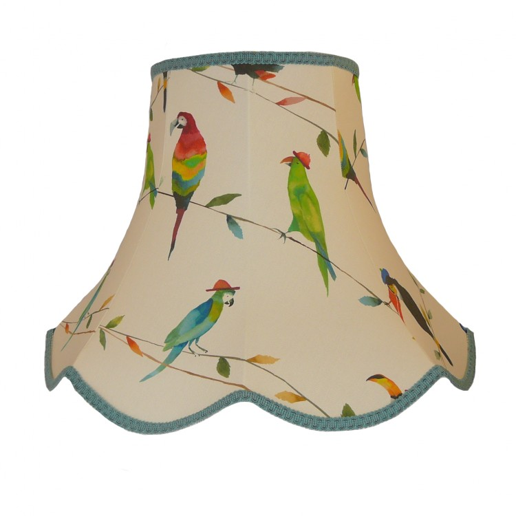 Parrots and Toucan Duck Egg Blue Modern Fabric Lampshades