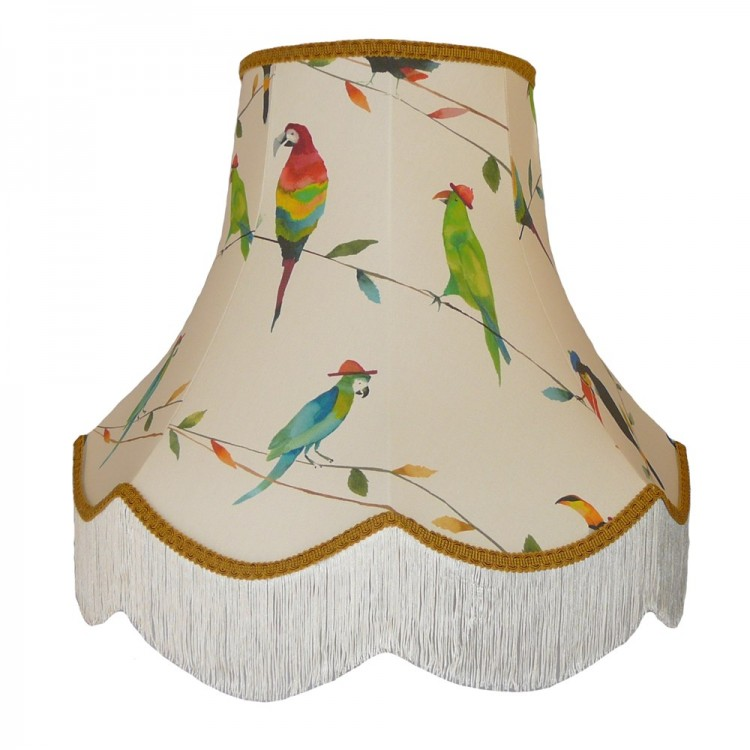 Parrots and Toucan Gold Fabric Lampshades