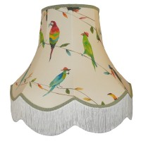Parrots and Toucan Green Fabric Lampshades