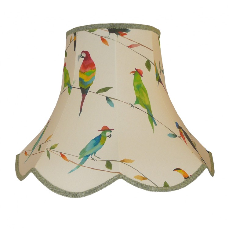 Parrots and Toucan Green Modern Fabric Lampshades