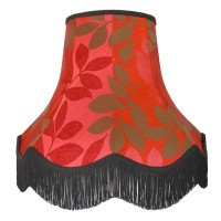 Rouge Red and Brown Leaf Single Fabric Lampshades