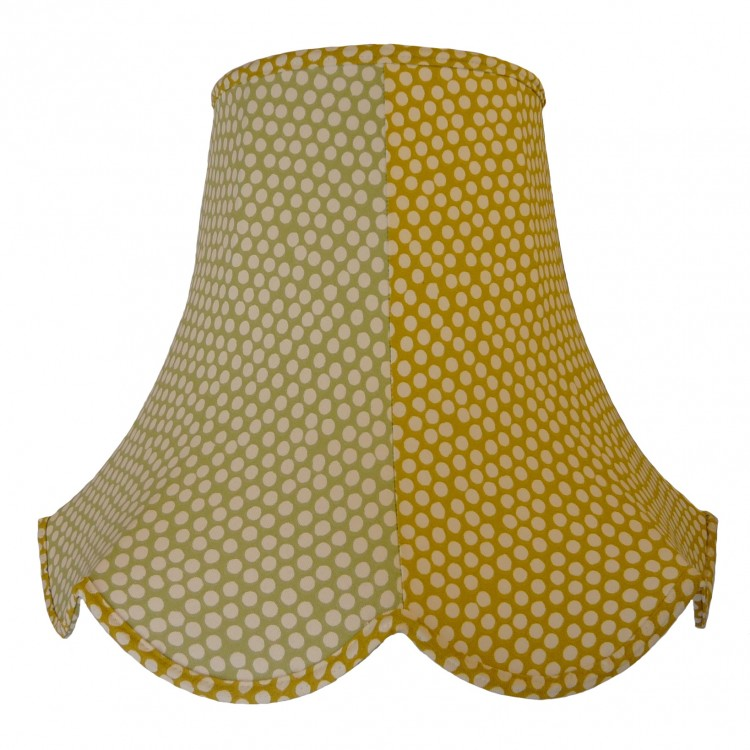 Sage Green and Ochre Polka Dot Fabric Lampshades