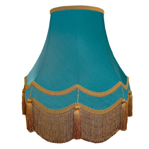Azure Blue and Gold Double Fabric Lampshades