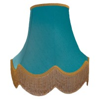 Azure Blue and Gold Fabric Lampshades