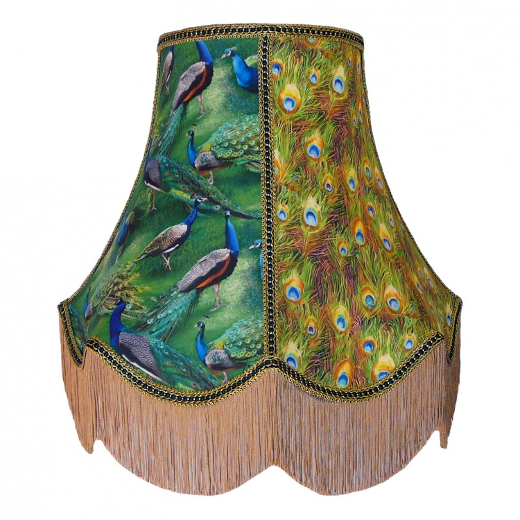 Bird of Juno Peacock Feather Green Fabric Lampshades