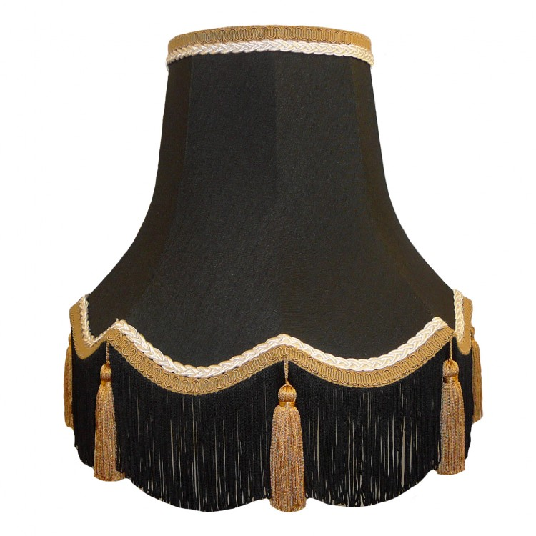 Black and Gold Tassled Fabric Lampshades