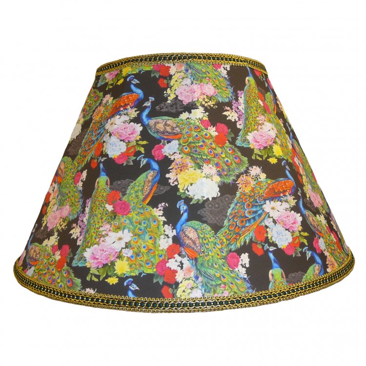 Peacock Plume Black Fabric Lampshades
