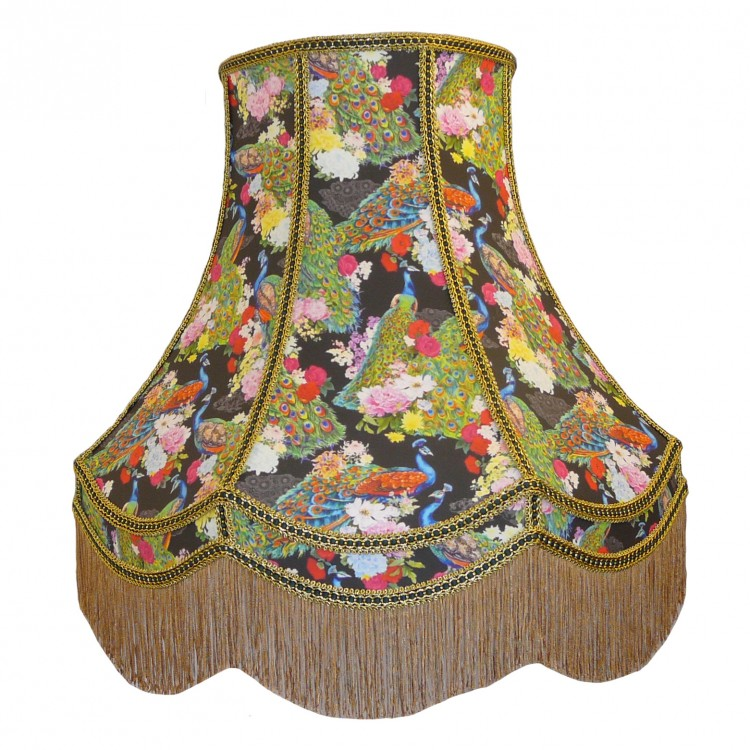 Exotic Peacock Black Fabric Lampshades
