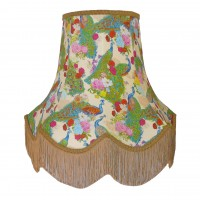 Peacock Dance Cream Gold Fabric Lampshades