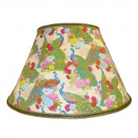 Peacock Plume Cream Fabric Lampshades