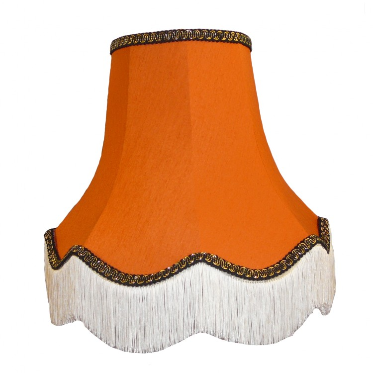 Burnt Orange with Black and Gold Fabric Lampshades