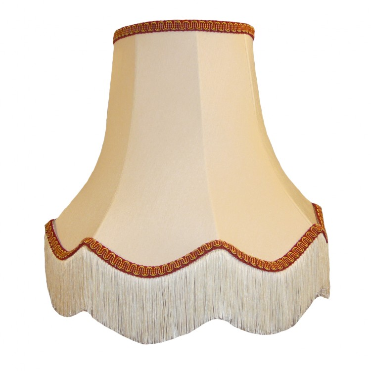 Cream and Red Fabric Lampshades