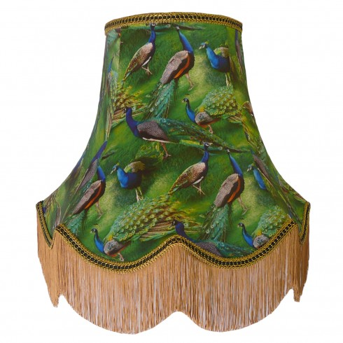 Peacock Dance Green Fabric Lampshades
