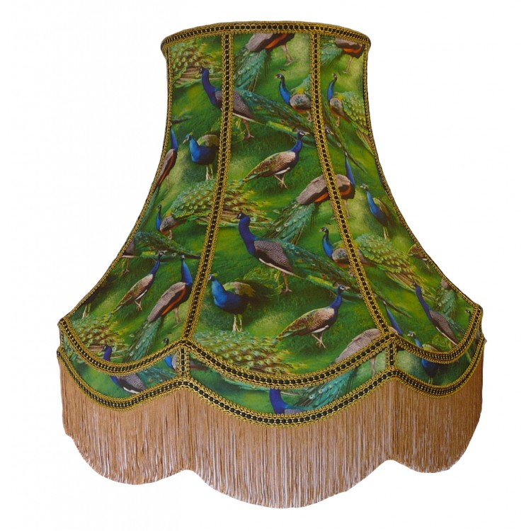 22 Inch Green Peacock Fabric Lampshade