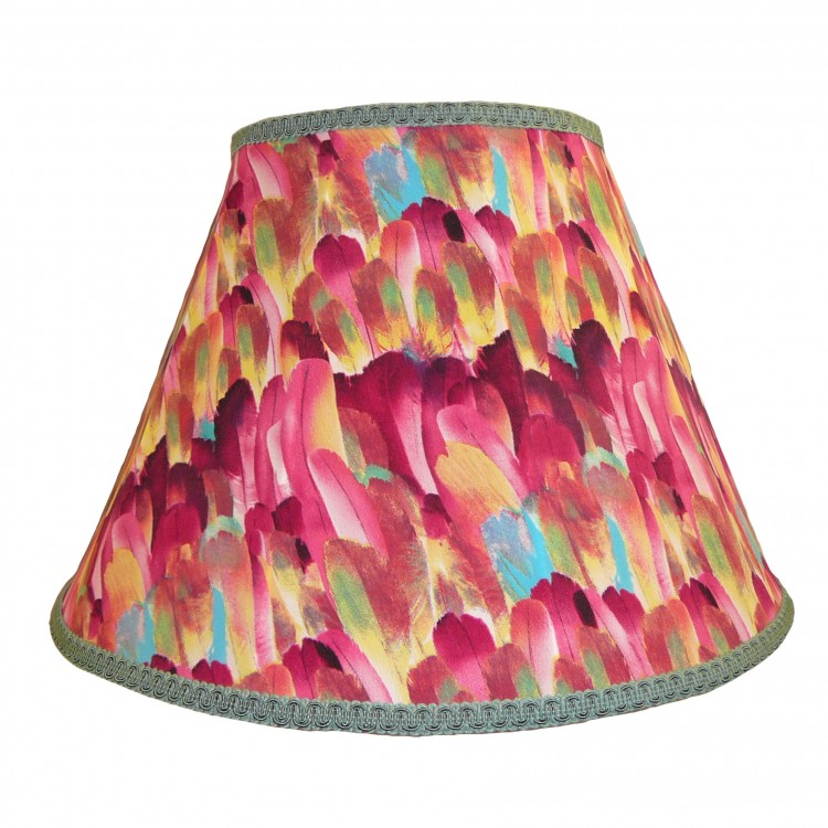 Hot Pink Feather Contemporary Fabric Lampshades