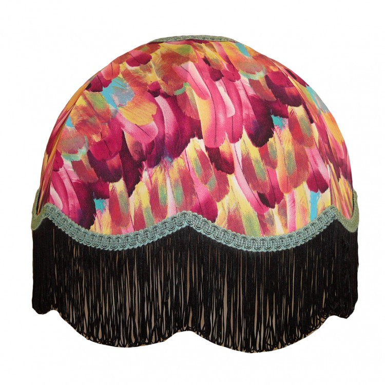 Hot Pink Feather Dome Fabric Lampshades