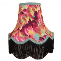 Hot Pink Feather Fabric Lampshades