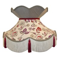 Mulberry Purple Red and Flint Grey Victorian Fabric Lampshade