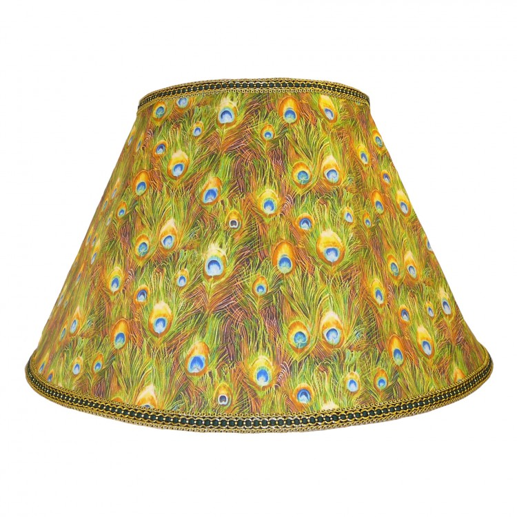 Peacock Plume Feathers Fabric Lampshades