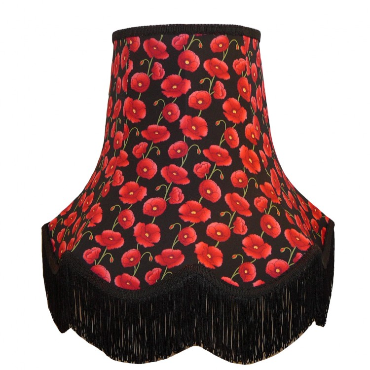 Black Poppy Fabric Lampshades