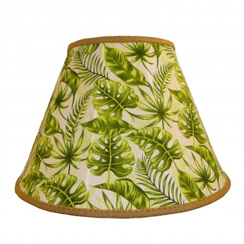 Green Tropical Leaf Contemporary Fabric Lampshades