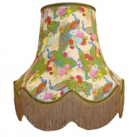 Peacock Dance Cream  Fabric Lampshades