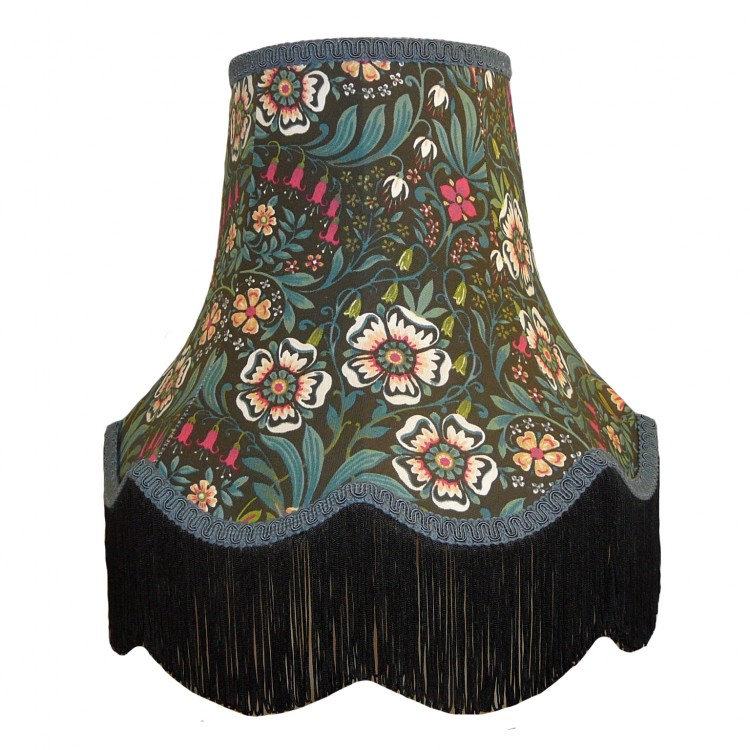 William Morris Black Fabric Lampshades