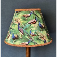 Peacock Plume Green and Gold Fabric Lampshades