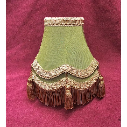 Olive Green and Gold Double Fabric Lampshades