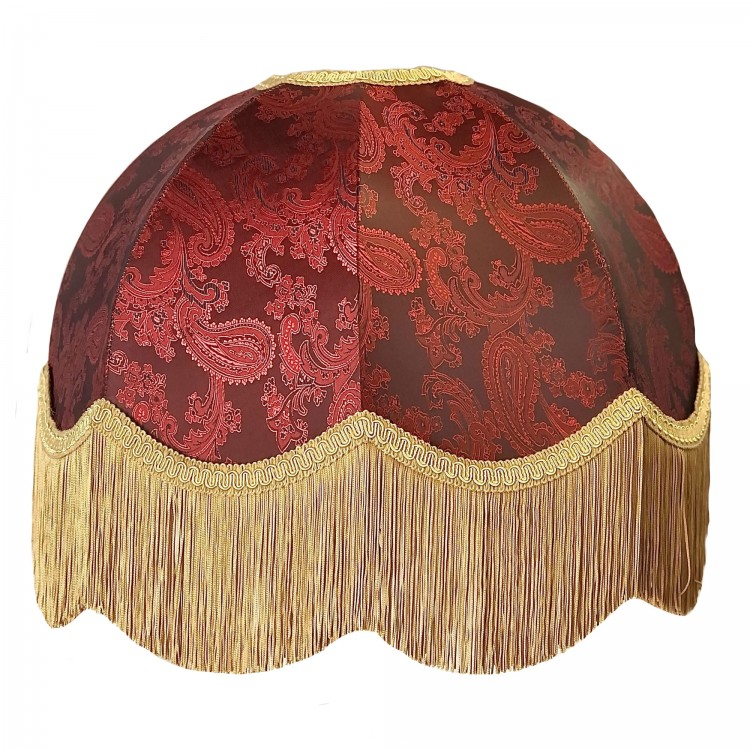 Paisley Jacquard Red Dome Fabric Lampshades