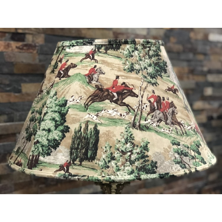 Sanderson Tally Ho Hunting Scene Contemporary Fabric Lampshades