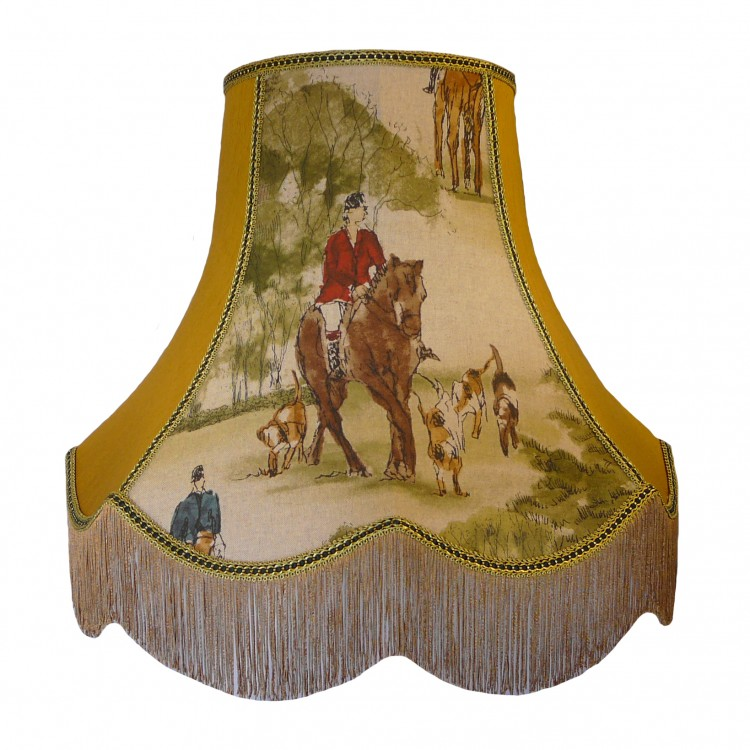 Tally Ho Hunting Scene Gold Fabric Lampshades