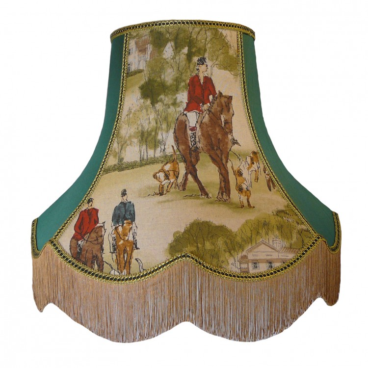 Tally Ho Hunting Scene Green Fabric Lampshades