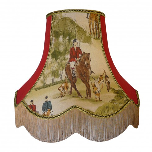 Tally Ho Hunting Scene Rosso Fabric Lampshades