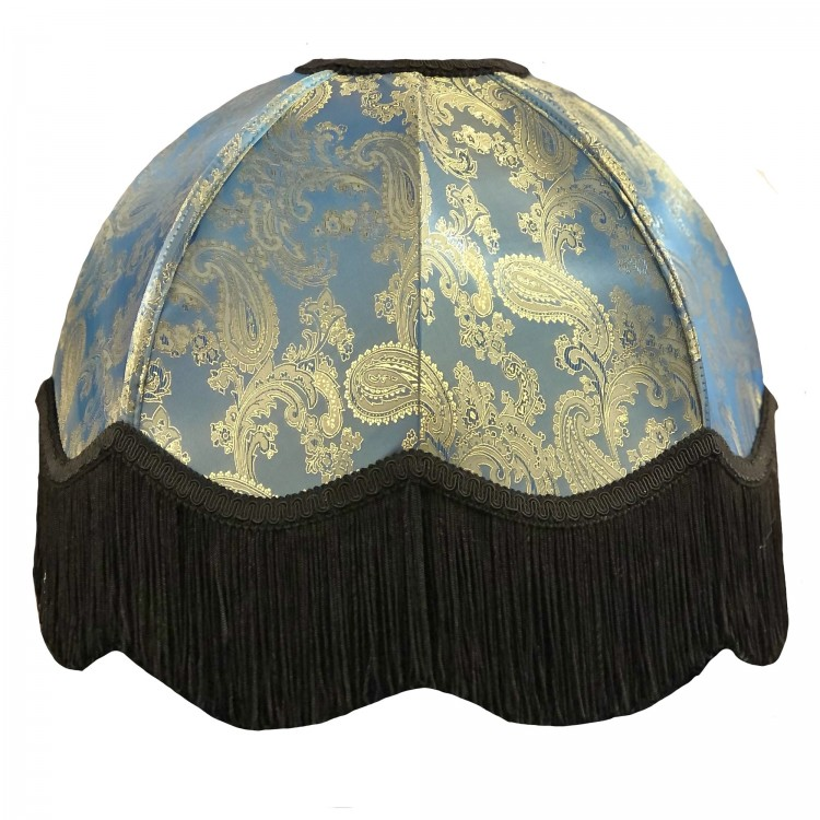 Paisley Jacquard Aqua Blue and Black Dome Fabric Lampshades